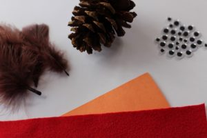 fall-decor-supplies needed Pine cone, google eyes, construction paper, brown feathers