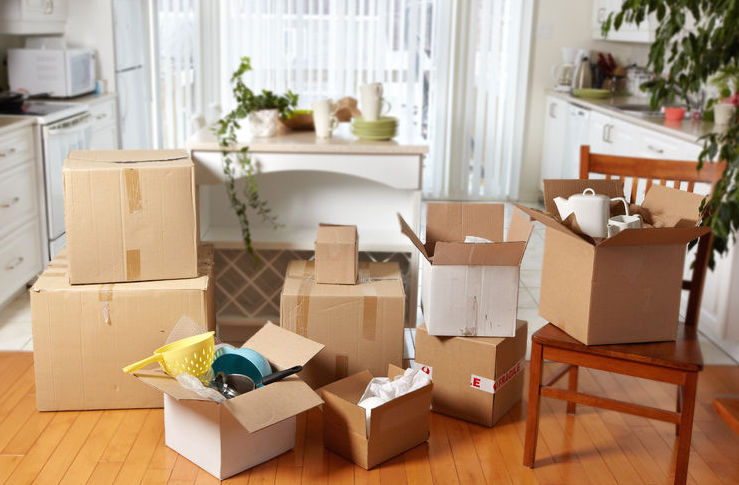 Unpacked boxes in a new house using packing tips for moving