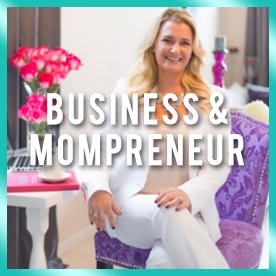 Busy mom and business owner sitting at dest with purple chair using her life hacks for busy moms