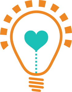 Picture of mom's life hacks logo cartoon light bulb with a heart filament