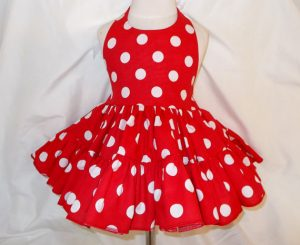 spring outfits red dress with white polka dots