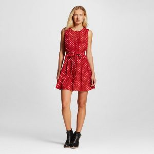 spring outfits - mom is wearing a red dress with white polka dots