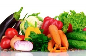 Assortment of fresh, colorful, healthy fruits and vegetables
